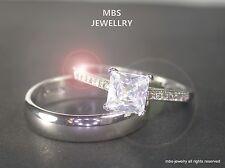 1.5Ct Princess Cut Created Diamond Ring Set Rings 18K White Gold GP Size Q/8