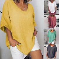 Femme Coton Manche Court V Col Lârge T-Shirts Hauts Chemises Décontracté Neuf 25