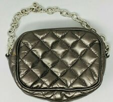Brighton Pewter Quilted Evening Bag with Chain Strap - Leather Wristlet - Clutch