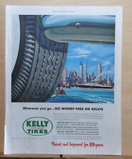 1953 magazine ad for Kelly Springfield Tires - New York Skyline from harbor