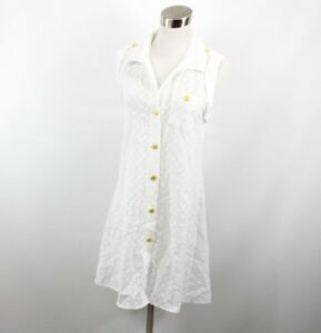 Sperry Top Sider Womens Small Full Button Nautical Bikini Swimsuit Cover White