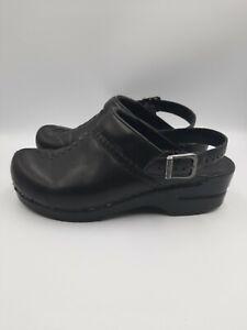 Dansko Ingrid Sling Back Size 8 38 Black  Leather Womens Professional Clogs