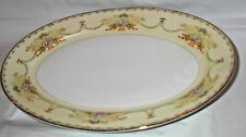 """Vintage Meito ADAMS Hand Painted China Serving Platter Japan Crown 14"""" x 10.25"""""""