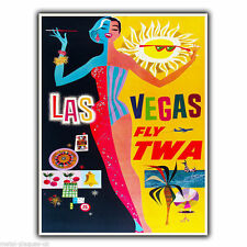 LAS VEGAS - FLY TWA Vintage Retro Travel Advert METAL WALL SIGN PLAQUE poster