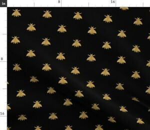Bees Black Bee Antique Gold Honeybee Modern Home Spoonflower Fabric by the Yard