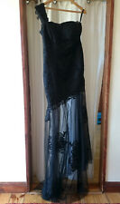 HANDMADE EMBROIDERED LONG BLACK DRESS - EVENING PARTY - SIZE L - BRAND NEW