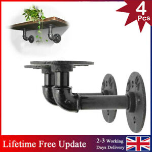 4PCS Iron Pipe Shelf Brackets Industrial Rustic Shelves Wall Floating Supports
