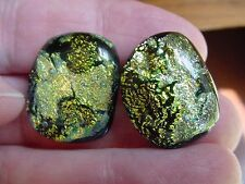 (DE24-9) Yellow green bright shimmer Earth land Dichroic glass pierced earrings