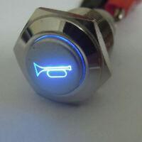 LED Momentané Bouton Klaxon Métal Off/ sur / Interrupteur 16mm Poussoir Éclairée
