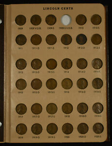 1909-1973 US 1C Lincoln Cent Set in Dansco Album - No 1909-S VDB or 1922 Plain