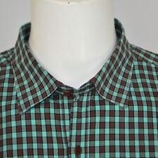 Mint VINCE Cotton Casual Long Sleeve Shirt Sz XL Green Brown Check