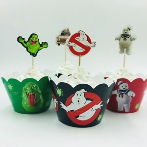 12x Ghostbusters Cupcake Wrapper & Topper. Party Supplies Cake Bunting Lolly Bag