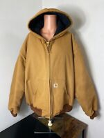 Vintage Carhartt men's tan quilted lined canvas duck jacket size 5XL USA union
