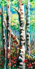 """Birch Trees Original Acrylic Painting Artist Signed Canvas 24""""x48"""" Gallery Wrap"""