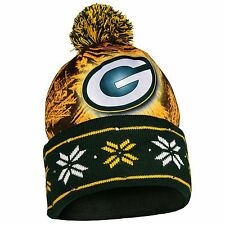 "Greenbay Packers NFL ""Big Logo"" LED Light Up Cuffed Knit Hat with Pom"