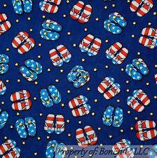 BonEful Fabric Cotton Blue Red White American Girl STAR Flip Flop USA Flag SCRAP