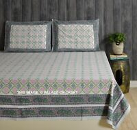 Indian Cotton Queen Size Hippie Bed Sheet Comforter 2 PC Pillow Cover Ethnic