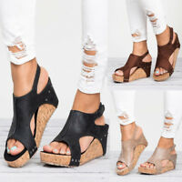Womens Leather Ankle Strap Peep Toe Sandals Summer Platform Wedge Shoes Size GW