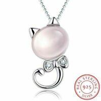 Sterling 925 Silber Halskette Rosa Mond Licht Stein Katze Anhänger Damen Schmuck