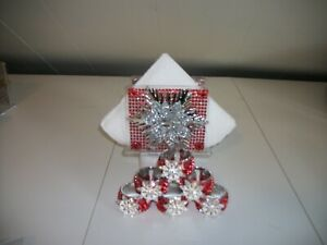 7PC RED AND SILVER PAPER  TISSUE HOLDER AND NAPKIN RINGS
