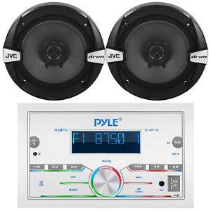 "Pyle PLMR77U Bluetooth USB AUX Receiver, 2x JVC 6.5"" 2-Way Coaxial Speakers"