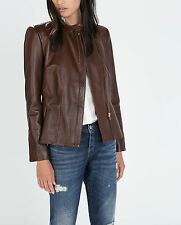 ZARA WOMAN BROWN BURGUNDY LAMBSKIN LEATHER PEPLUM ZIPPED BIKER JACKET S 8 10!