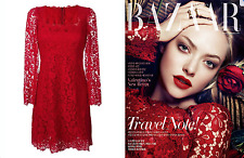 DOLCE & GABBANA Red Floral Lace Dress, 48 (Retail: $3,339) - NWT