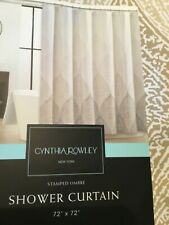 NEW Cynthia Rowley Fabric Shower Curtain Stamped Ombre pattern in Beiges