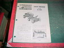 WHEEL HORSE SNOW THROWER 6-7212  PARTS LIST 9-1971