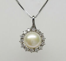 Genuine White Pearl Necklace Pendant Cultured Freshwater 925 Sterling Silver NEW