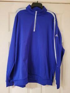 Adidas Golf Mens Royal Purple Quarter Zip Long Sleeve Pullover Shirt Jacket XL
