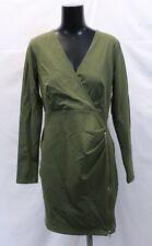 ASOS Women's Mini Dress With Ruched Zip Side SV3 Khaki Size US:8 UK:12 NWT