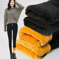 Women's Winter Thick Warm Trousers Fleece Lined Thermal Pants Stretchy R0J4