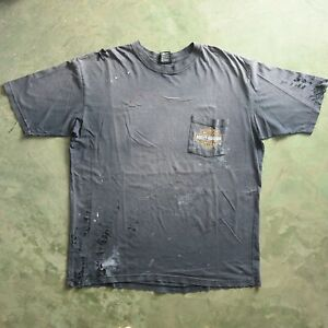 DISTRESSED Harley Davidson Worn Stained Pocket VTG T Shirt XXL FADED Thrashed