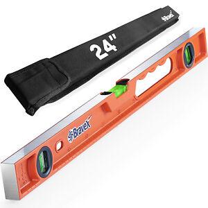 Magnetic Torpedo Level Aluminum Magnetic Box Beam Level 3 Magnified Vials 24Inch