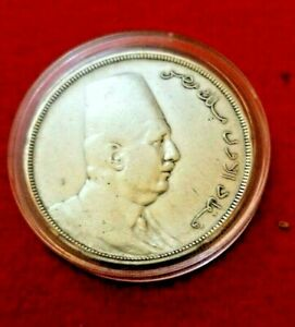 Rare 1923 AD 1341 AH Egypt Silver Coin 20 Piasters King Fouad  KM-338 M1