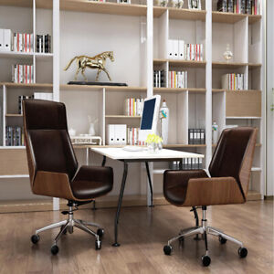 Eame Leather Office Chair Racing Gaming Chair Recliner Adjustable Walnut Wood
