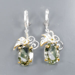 40 ct IF gem Quality Green Amethyst Earrings Silver 925 Sterling   /E58159