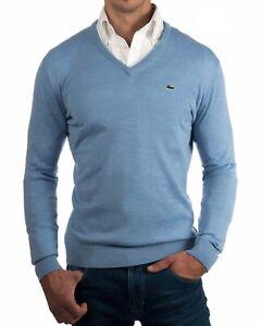Lacoste Wool Jumper BNWT size XXXXXL (FR 10) Mens Blue V Neck Sweater AH3015