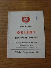 09/09/1968 Leyton Orient V Tranmere Rovers (piegati, Penna segno sul cover)