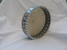 "Egyptian Deff Drum-Tambourine- Wood Inlaid Mother of Pearl 11"" Diameter"