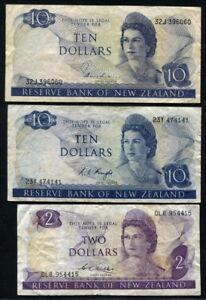 New Zealand 1975-1981, 10 Dollars, 1968-1975, 2 Dollars, 3 PCS VF
