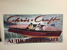 CHRIS CRAFT MOTOR BOATS VINTAGE 2x4 reproduction OLD SCHOOL BANNER boat mancave