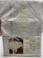 "Vintage RENAISSANCE By Timely Linens Inc Oval Tablecloth 70"" Round White Lace"