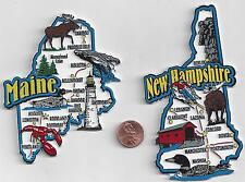 NEW HAMPSHIRE and MAINE  STATE JUMBO MAP  MAGNETS  7 COLOR   NEW USA  2 MAGNETS