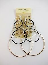 Thin hoop earrings set of 6 pairs silver gold black base metal spring clasp c