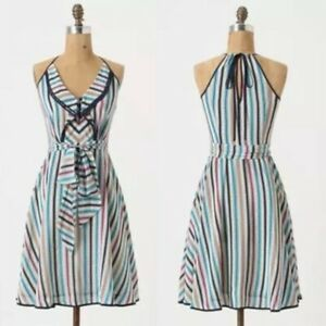 Anthropologie Girls From Savoy Gull Wing Striped Casual Dress Women's Size 10