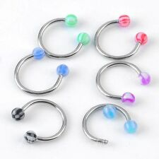 20pc Mix UV Ball Stainless Steel Hoop Nose Ring Stud Bars Nostril Body Piercing