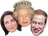 Royal Diamond Jubilee Queen Elizabeth Prince William Kate FACE MASK 3 PACK 2012