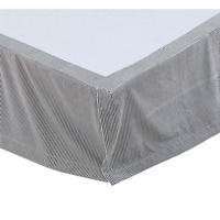 LINCOLN Twin Bed Skirt Dust Ruffle Blue Ticking Stripe Farmhouse Ruffle Rustic